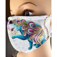 Handsewn Face Mask with Filter Pocket and Bendable Nose Wire - Catitude Gold Shimmer Turquoise Cats - 5 Sizes
