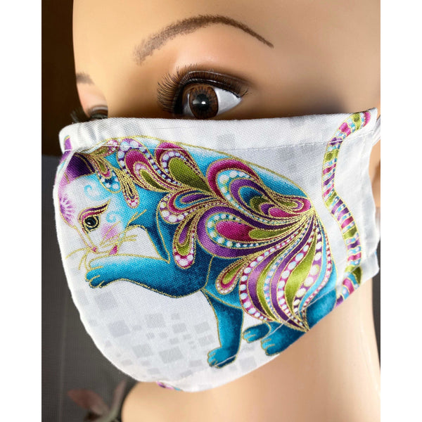Handsewn Face Cover with Filter Pocket and Bendable Nose Wire - Catitude Gold Shimmer Turquoise Cats - 5 Sizes