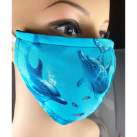 Handsewn Face Mask with Filter Pocket, Bendable Nose Wire, and Adjustable Elastic - Dolphins & Ocean - 5 Sizes