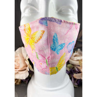 Handsewn Face Mask with Filter Pocket and Bendable Nose Wire - Glittery Butterflies - 5 Sizes
