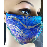 Handsewn Face Mask with Filter Pocket, Bendable Nose Wire, and Adjustable Elastic - Cool Golden Breeze - 5 Sizes