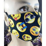 Handsewn Face Cover with Filter Pocket & Bendable Nose Wire - Emoji Faces - 5 Sizes
