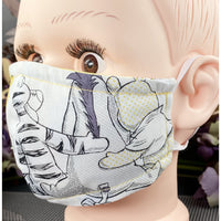 Handsewn Face Mask with Filter Pocket and Bendable Nose Wire -  Bear - 5 Sizes