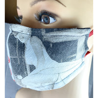 Handsewn Face Cover with Filter Pocket, Bendable Nose Wire, & Adjustable Elastic - Marilyn Monroe Design II - 5 Sizes