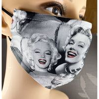 Handsewn Face Cover with Filter Pocket, Bendable Nose Wire, & Adjustable Elastic - Marilyn Monroe - 5 Sizes