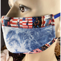 Handsewn Face Mask with Filter Pocket, Bendable Nose Wire, & Adjustable Elastic - Soft Denim 80s Pop Culture - Born in the USA - 5 Sizes