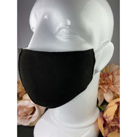 Handsewn Face Cover with Filter Pocket and Bendable Nose Wire - Black - 5 Sizes