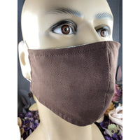 Handsewn Face Mask with Filter Pocket and Bendable Nose Wire - Brown - 5 Sizes