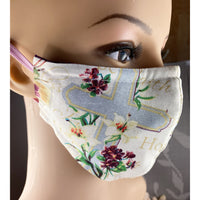 Handsewn Face Mask with Filter Pocket, Bendable Nose Wire, & Adjustable Elastic - Spiritual Blessings - 5 Sizes