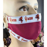Handsewn Face Mask with Filter Pocket, Bendable Nose Wire, & Adjustable Elastic - Arizona State University Style II - 5 Sizes