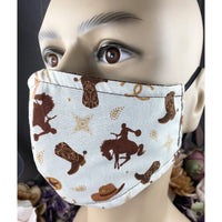Handsewn Face Mask with Filter Pocket & Bendable Nose Wire - Western Cowboy - 5 Sizes