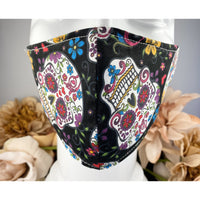 Handsewn Face Mask with Filter Pocket, Bendable Nose Wire, & Adjustable Elastic - Folkloric Skulls - 5 Sizes