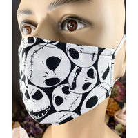 Handsewn Face Mask with Filter Pocket and Bendable Nose Wire - Nightmare Before Christmas Jack Skellington Faces - 5 Sizes