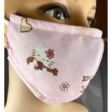 Handsewn Face Mask with Filter Pocket, Bendable Nose Wire, & Adjustable Elastic - Hello Kitty Peace Love - 5 Sizes