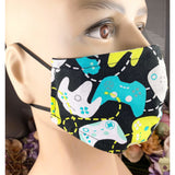 Handsewn Face Mask with Filter Pocket,  Bendable Nose Wire, & Adjustable Elastic - Game Controller - 5 Sizes