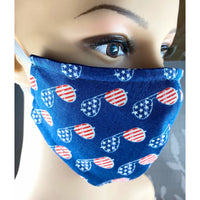 Handsewn Face Mask with Filter Pocket,  Bendable Nose Wire, & Adjustable Elastic - American Sunglasses - 5 Sizes