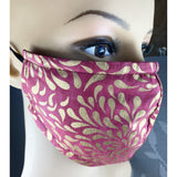 Handsewn Face Cover with Filter Pocket, Bendable Nose Wire, and Adjustable Elastic - Rosa Golden Splash - 4 Sizes
