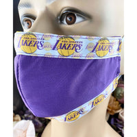 Handsewn Face Cover with Filter Pocket and Bendable Nose Wire - Basketball Team Themed Ribbon - 5 Sizes