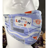 Handsewn Face Mask with Filter Pocket & Bendable Nose Wire - London Tourist - 5 Sizes