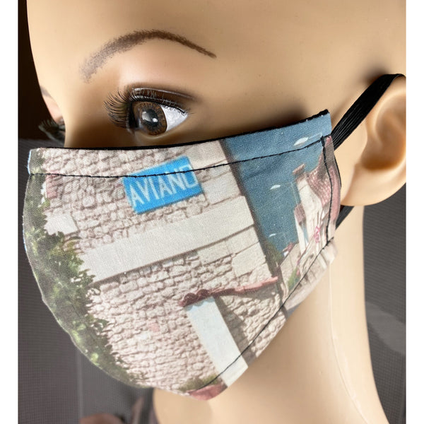 Handsewn Face Cover with Filter Pocket & Bendable Nose Wire - Aviano Italy - 5 Sizes