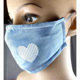 Handsewn Face Mask with Filter Pocket and Bendable Nose Wire - Soft Two-Tone Denim Embroidered Heart  - 5 Sizes