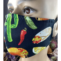 Handsewn Face Mask with Filter Pocket & Bendable Nose Wire - Cactus, Tacos, Red Hot Chili Pepper, Enchilada, Sombrero - 5 Sizes