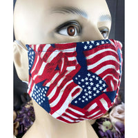 Handsewn Face Cover with Filter Pocket & Bendable Nose Wire - USA Flag - 5 Sizes