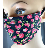Handsewn Face Mask with Filter Pocket and Bendable Nose Wire - Roses - 5 Sizes