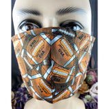 Handsewn Face Mask with Filter Pocket & Bendable Nose Wire - Football - 5 Sizes