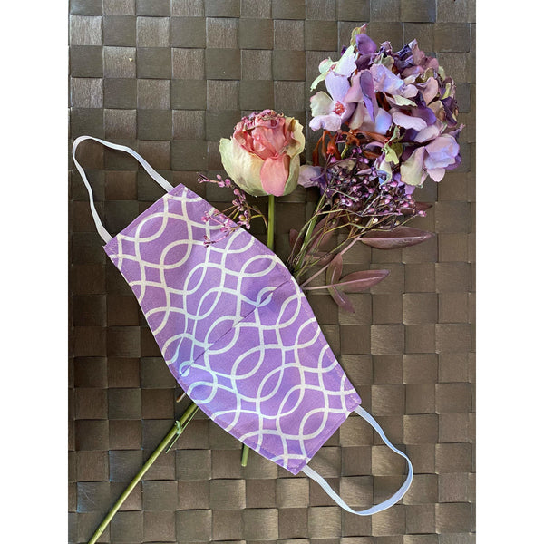 Handsewn Face Cover with Filter Pocket and Bendable Nose Wire - Lavender - 5 Sizes