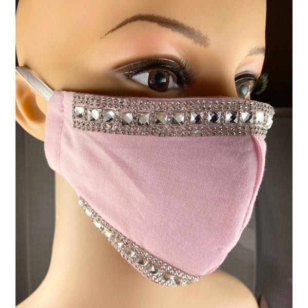 Handsewn Face Cover with Filter Pocket and Bendable Nose Wire - Pink Glamour w/Rhinestones - 5 Sizes