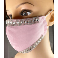 Handsewn Face Mask with Filter Pocket and Bendable Nose Wire - Pink Glamour w/Rhinestones - 5 Sizes