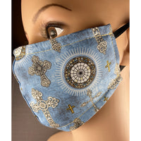 Handsewn Face Cover with Filter Pocket & Bendable Nose Wire - Cross Brocade - 5 Sizes