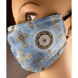 Handsewn Face Mask with Filter Pocket & Bendable Nose Wire - Cross Brocade - 5 Sizes