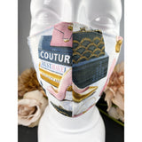 Handsewn Face Mask with Filter Pocket & Bendable Nose Wire - High Heel Couture Fashion - 5 Sizes