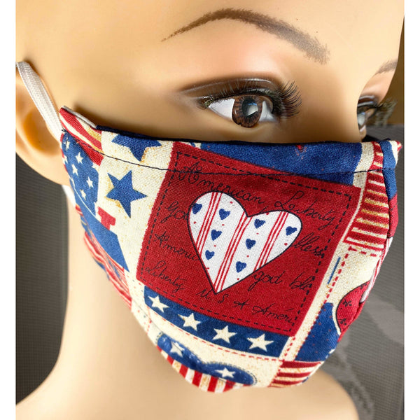 Handsewn Face Cover with Filter Pocket and Bendable Nose Wire - Heart USA - 4 Sizes