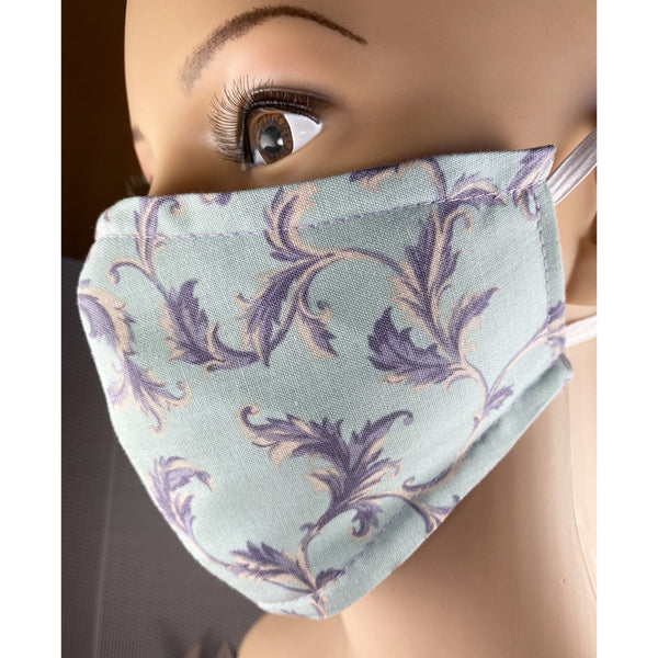 Handsewn Face Cover with Filter Pocket and Bendable Nose Wire - Seafoam Green & Lilac Floral - 5 Sizes