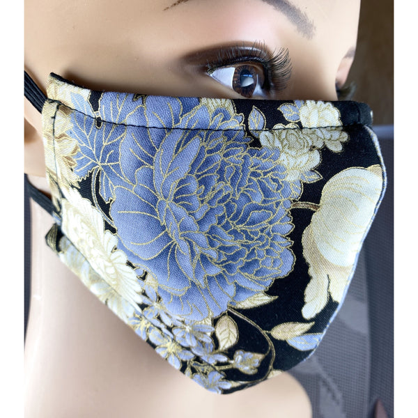 Handsewn Face Cover with Filter Pocket and Bendable Nose Wire - Black & Golden Shimmer Floral - 5 Sizes