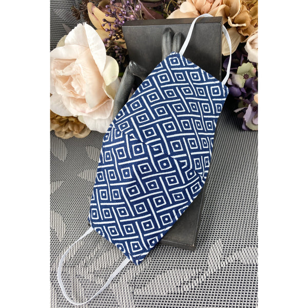 Handsewn Face Cover with Filter Pocket and Bendable Nose Wire - Navy Contemporary - 5 Sizes