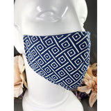 Handsewn Face Mask with Filter Pocket and Bendable Nose Wire - Navy Contemporary - 5 Sizes