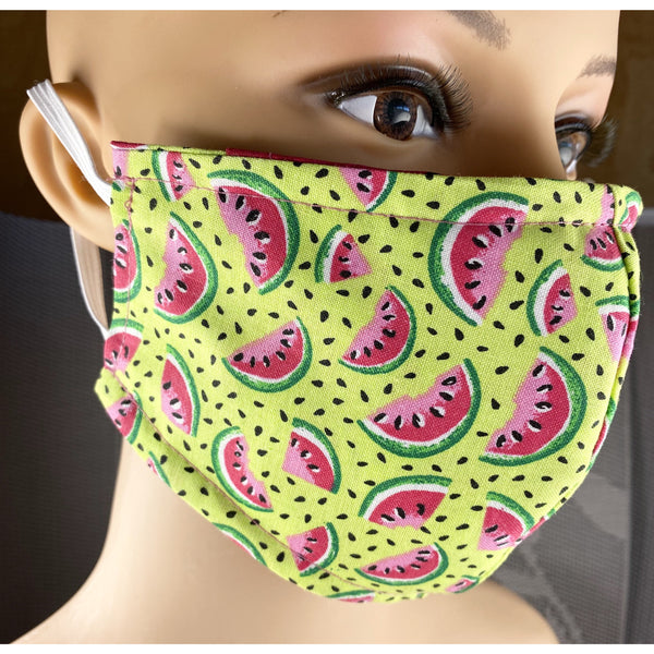 Handsewn Face Cover with Filter Pocket and Bendable Nose Wire - Watermelon - 5 Sizes