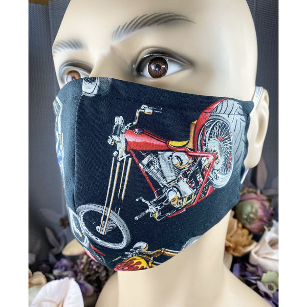 Handsewn Face Mask with Filter Pocket and Bendable Nose Wire - Hot Rod Motorcycle - 5 Sizes