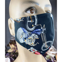 Handsewn Face Cover with Filter Pocket and Bendable Nose Wire - Hot Rod Motorcycle - 5 Sizes