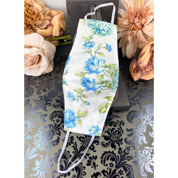 Handsewn Face Mask with Filter Pocket and Bendable Nose Wire - Blue & Green Floral - 5 Sizes