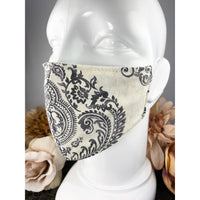 Handsewn Face Mask with Filter Pocket and Bendable Nose Wire - Cream & Graphite Boho Pattern - 5 Sizes