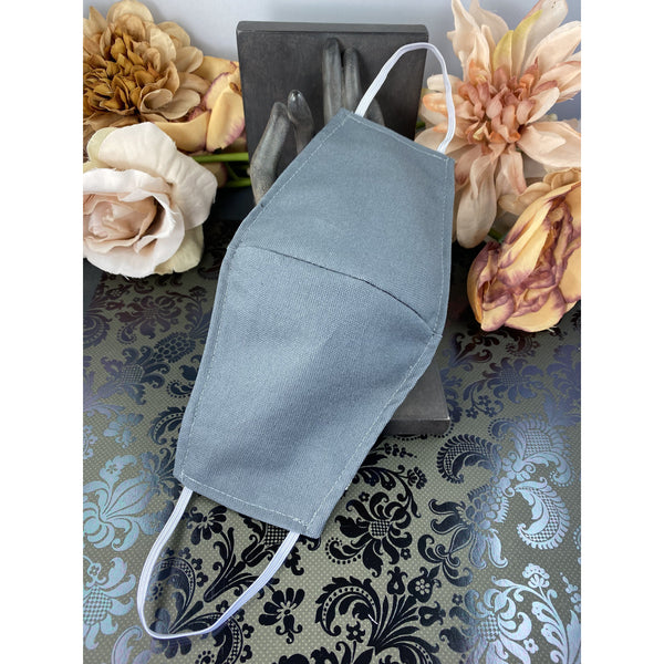 Handsewn Face Mask with Filter Pocket and Bendable Nose Wire - Grey - 5 Sizes