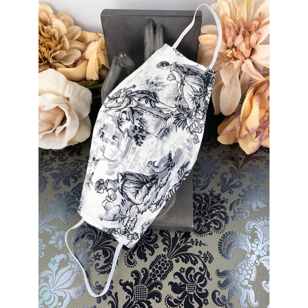 Handsewn Face Mask with Filter Pocket and Bendable Nose Wire - Black & White Splendor in the Grass Scene - 5 Sizes