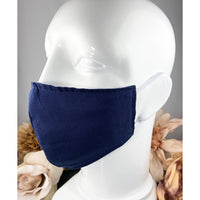 Handsewn Face Cover with Filter Pocket and Bendable Nose Wire - Solid Navy - 5 Sizes