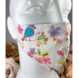 Handsewn Face Mask with Filter Pocket and Bendable Nose Wire - Birds & Flowers - 5 Sizes