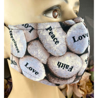 Handsewn Face Mask with Filter Pocket, Bendable Nose Wire, Adjustable Elastic, & Pre-Washed - Inspiration Pebbles - 5 Sizes